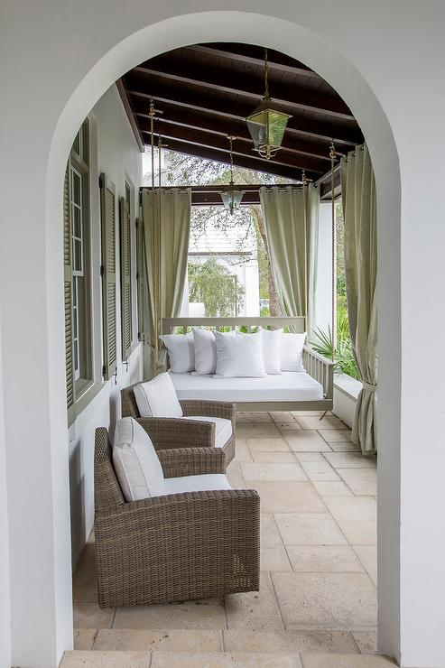Covered Porch With Outdoor Grommet Curtains