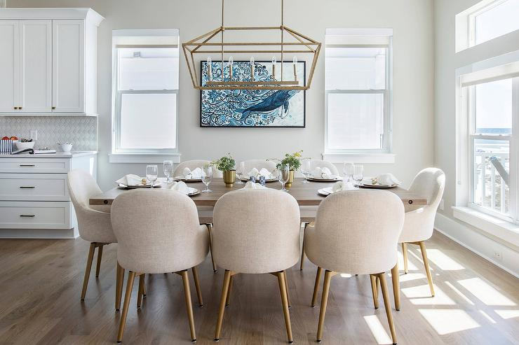 Cream Dining Chairs with Walnut Table - Transitional - Dining Room