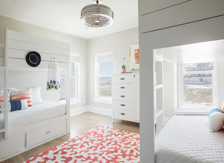 White Shiplap Bunk Beds With Vintage Ceiling Fan Cottage Girl S Room