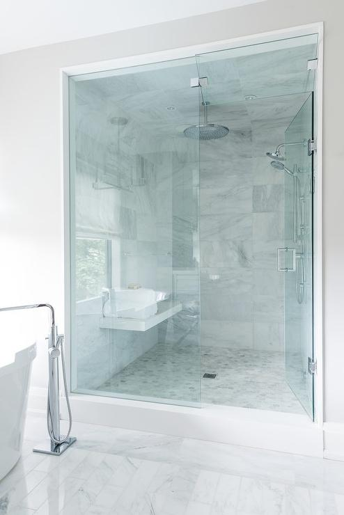 Marble Floating Shower Bench Under Window - Contemporary - Bathroom