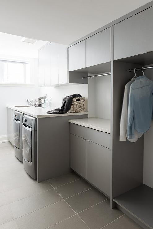 gray modern laundry room design contemporary laundry room. Black Bedroom Furniture Sets. Home Design Ideas