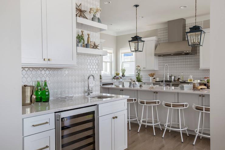 White Arabesque Tiles in Kitchen Wet Bar - Transitional - Kitchen