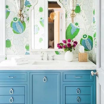 marvellous green white blue bathroom | Blue Green Bath Vanity with Black Mirror - Transitional ...