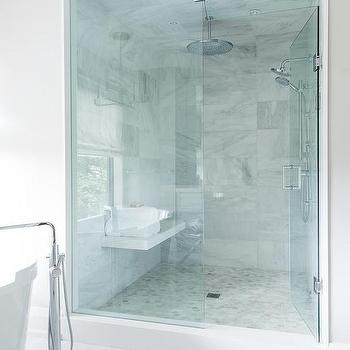 Charmant Marble Floating Shower Bench Under Window