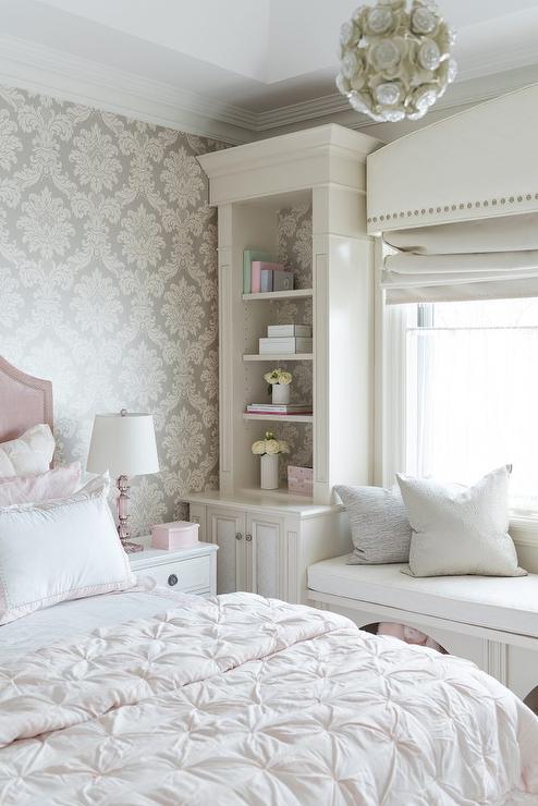 Blush Pink Velvet Bed With Gray Damask Wallpaper