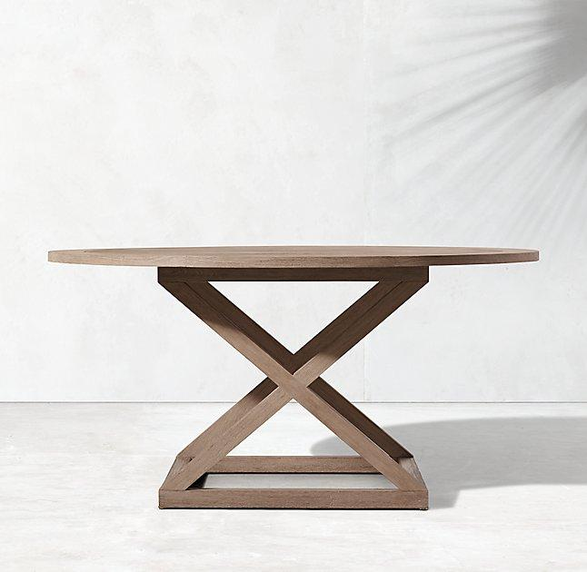 Directors round outdoor teak dining table for Round teak outdoor table