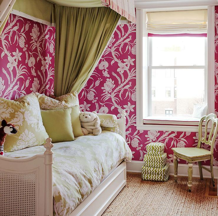 Green And Pink Girls Bedroom With White Rattan Hanging