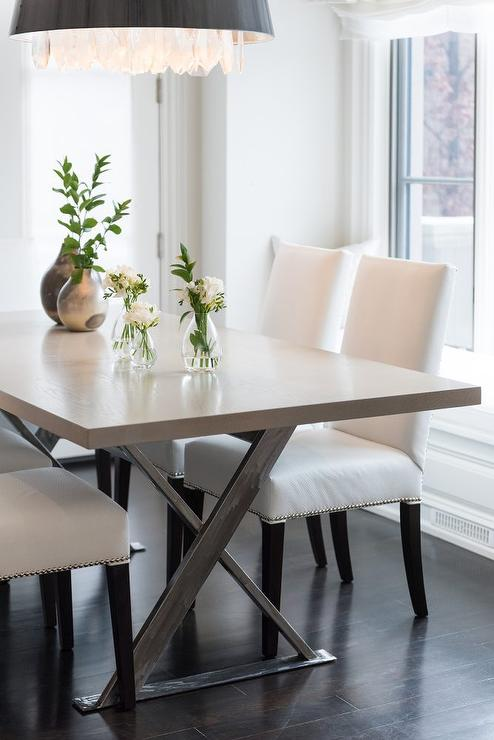 Merveilleux Gray X Base Dining Table With White Leather Chairs
