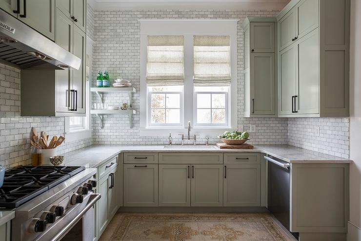 Gray Cottage Kitchen Cabinets with Bronze Pulls Cottage Kitchen