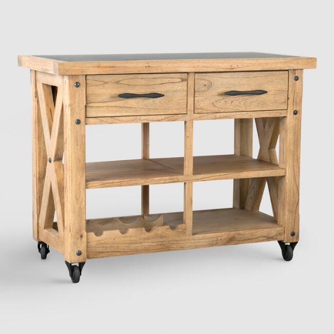 Keaton Pinewood Rolling Kitchen Island