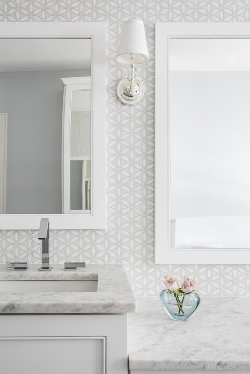 White And Gray Mosaic Bathroom Wall Tiles Transitional