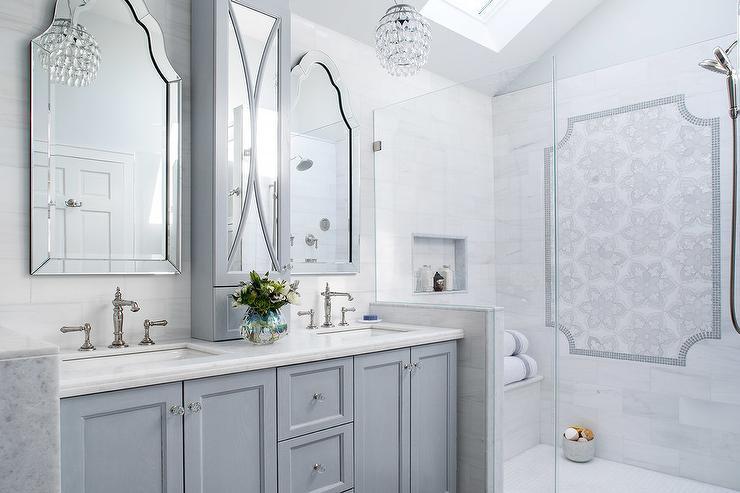Gray Wash Bath Vanity With Black Granite Transitional