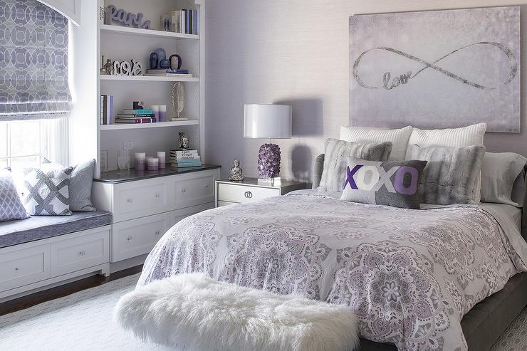 Gray Girl Bedroom With Purple Accents Contemporary