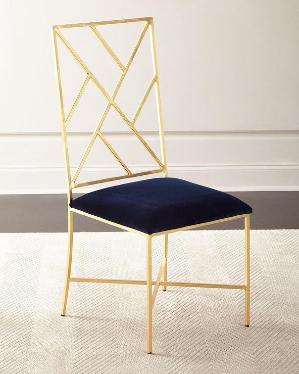 sadie fretwork gold velvet dining chair