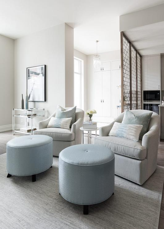 Amazing Light Gray Swivel Club Chairs With Round Light Blue Ottomans Part 26