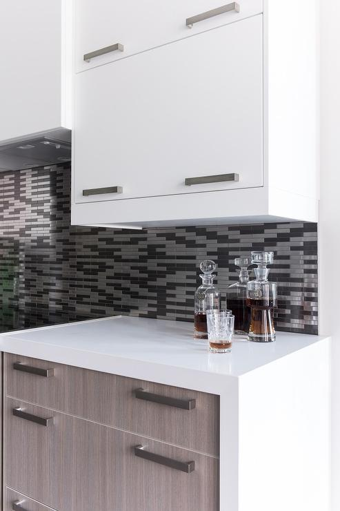Fantastic Two Tone Kitchen Boasts White Flat Front Upper Cabinets And Brown  Oak Veneer Bottom Cabinets Adorned With Nickel Pulls Paired With White  Quartz ...