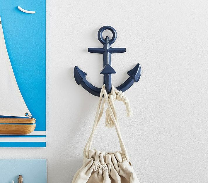 Navy Metal Anchor Wall Hooks