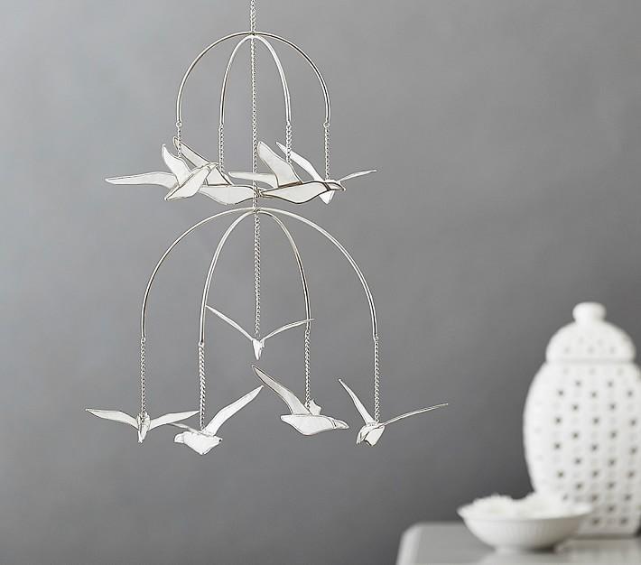 Capiz White Seagull Ceiling Mobile