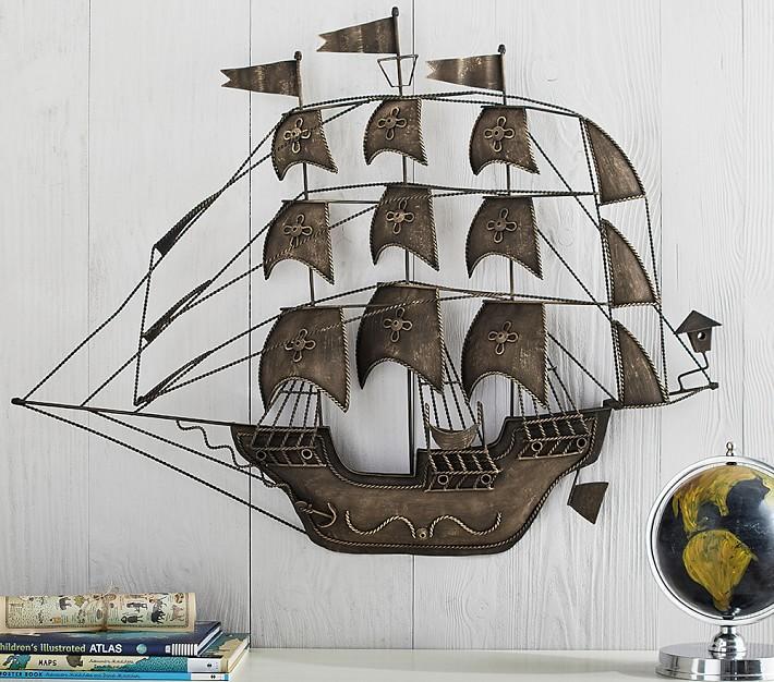 Metal Pirate Ship Wall Decor