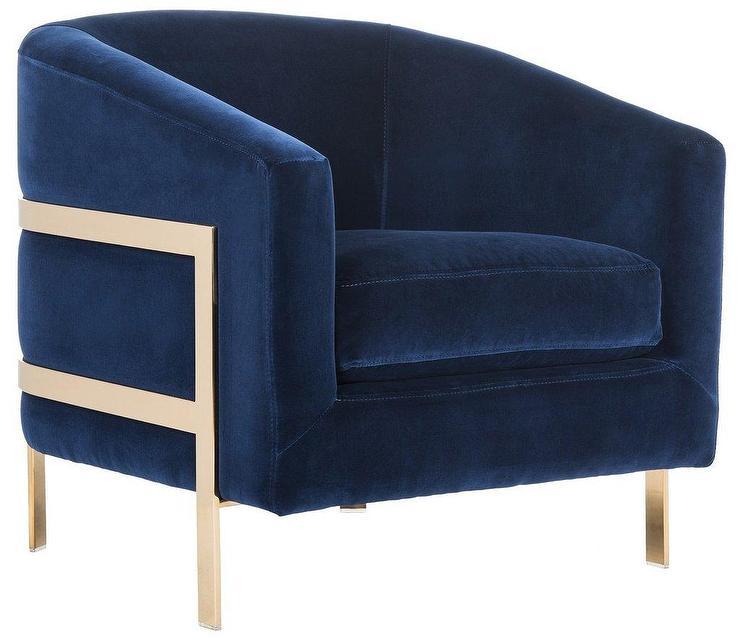 Vernon Navy Velvet Club Chair