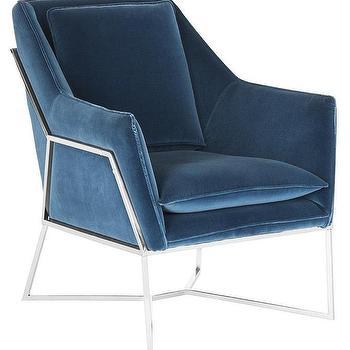 evrex royal blue velvet club chair
