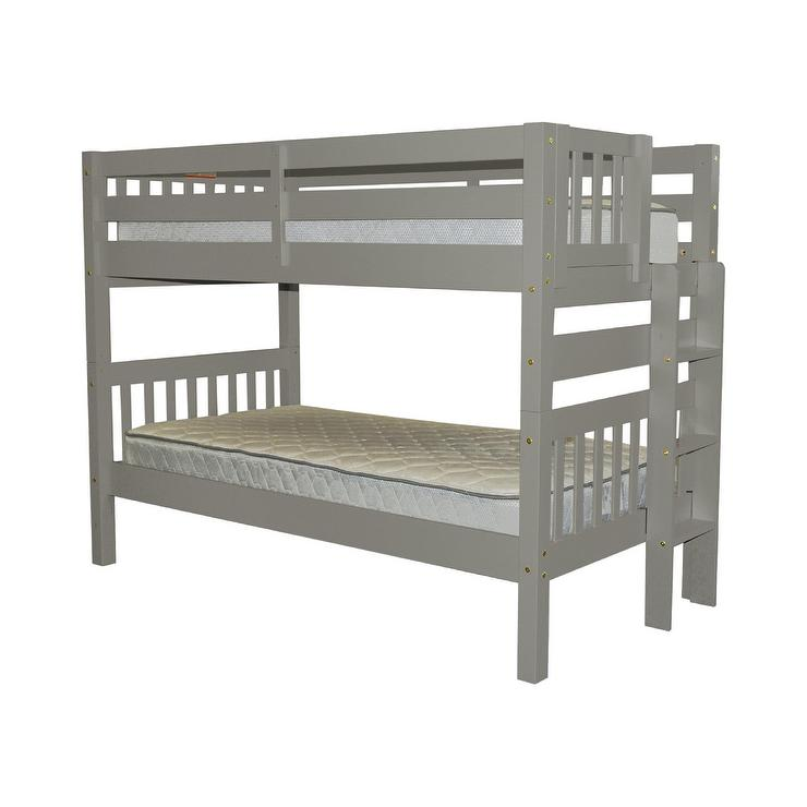 Bedz King Gray Ladder Twin Bunkbed