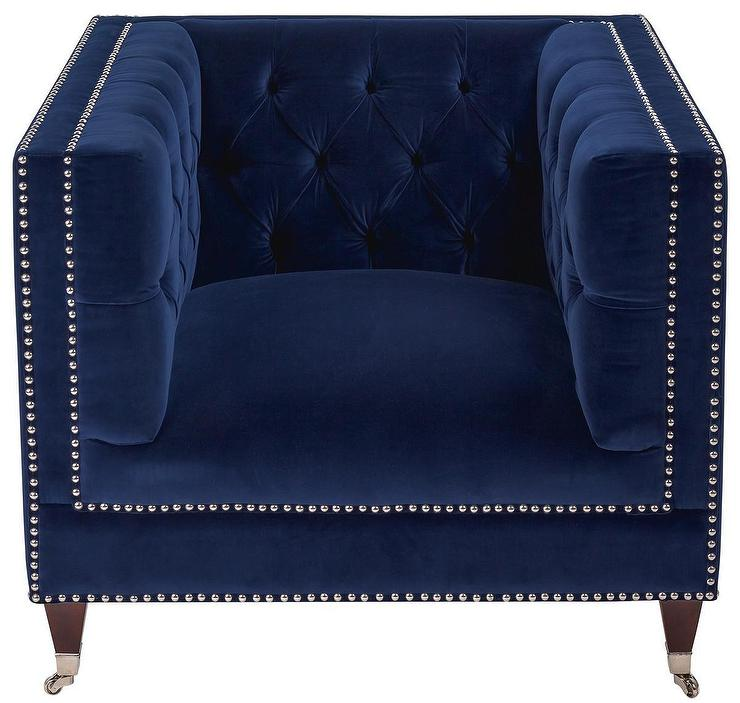 miller navy tufted velvet chair