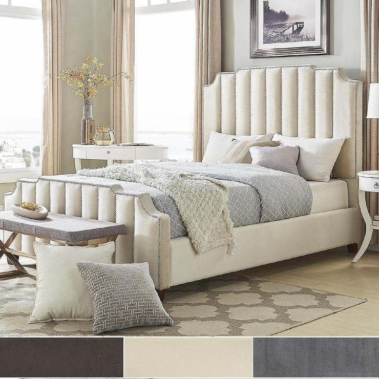 Chareau Gray Tufted Scalloped Nailhead Bed