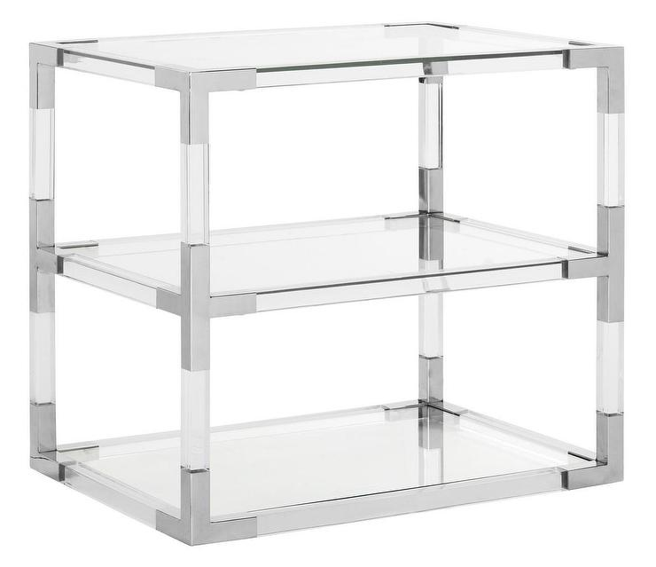 louisa 3 shelves acrylic chrome end table
