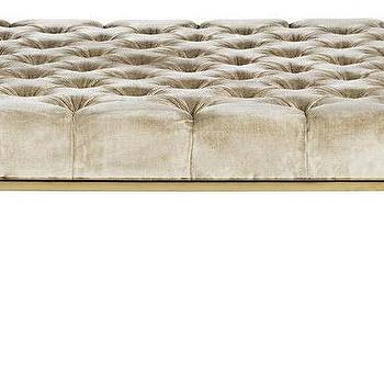 Excellent Kirkham Beige Velvet Tufted Ottoman Machost Co Dining Chair Design Ideas Machostcouk