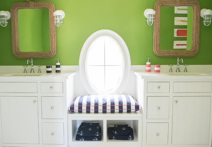 Apple Green Kids Bathroom With Rope Mirrors