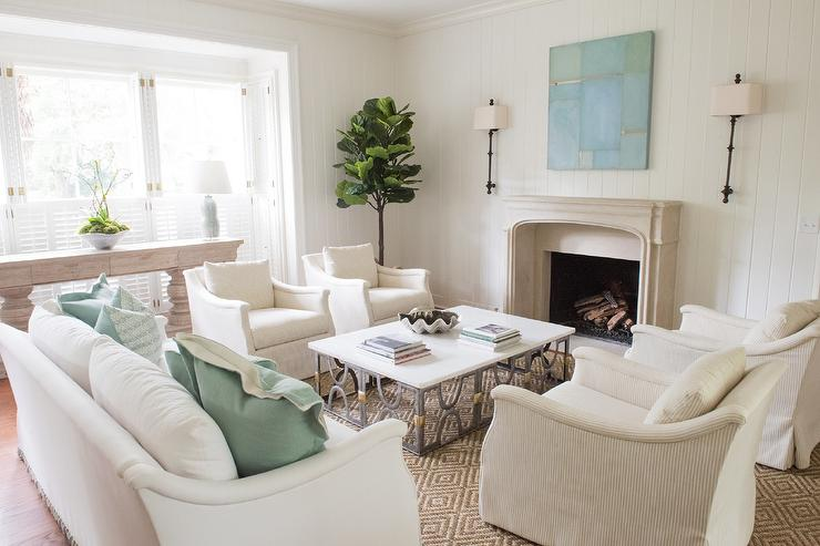 Mismatched Fireplace Chairs Transitional Living Room