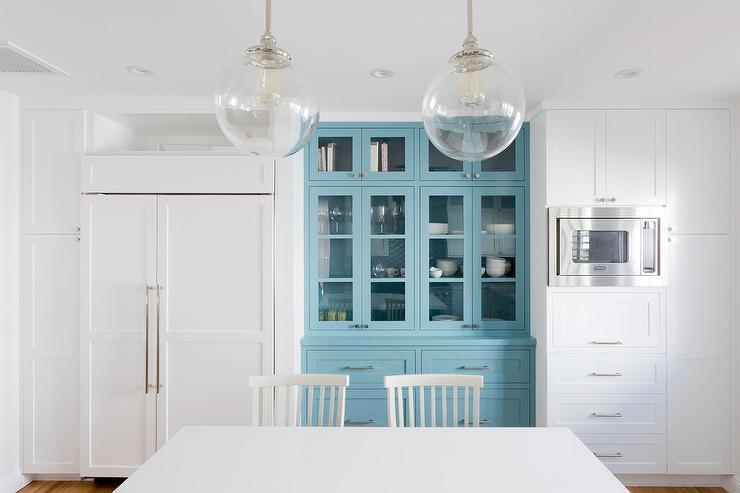 Charmant Blue Built In Kitchen China Cabinet