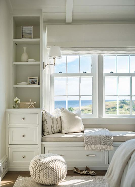 Bedroom Window Seat With Beige Linen Cushion Cottage