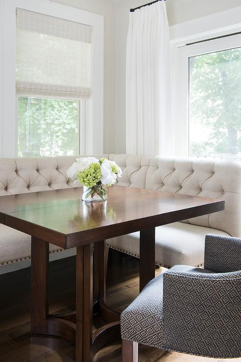 Ivory Linen Tufted Dining Banquette With Square Dining
