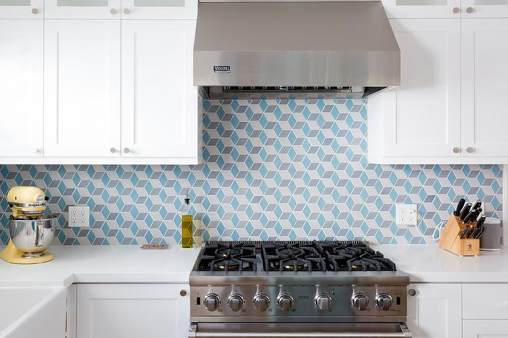 Blue And Gray Geometric Kitchen Tiles Transitional Kitchen