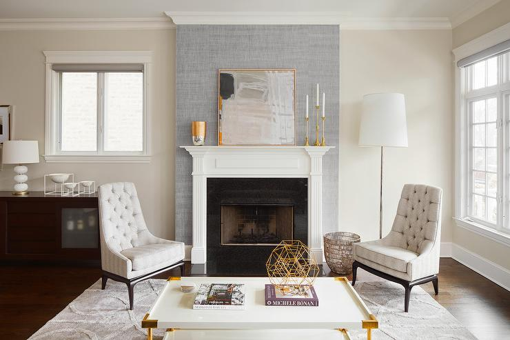 Gray Fireplace Wall With White Mantel Contemporary