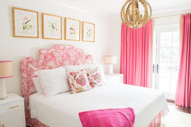 Pink Bedroom with Gold Accents - Transitional - Bedroom