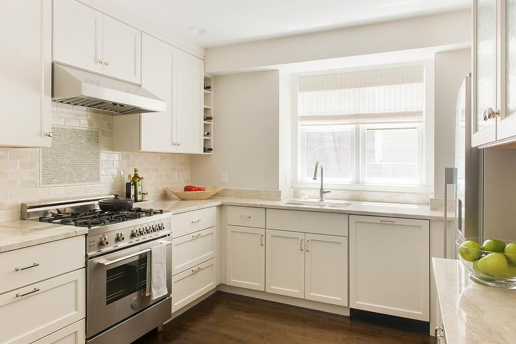 Ivory Shaker Cabinets With Ivory Subway Tiles Transitional Kitchen