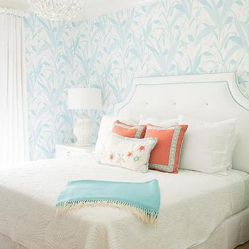Aqua lattice wallpaper contemporary bedroom maria barros for Aqua blue bedroom ideas
