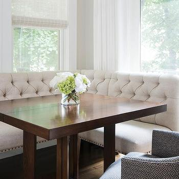 ivory linen tufted dining banquette with square dining table - Dining Banquette