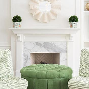 Superb Round Green Tufted Skirted Ottoman Design Ideas Bralicious Painted Fabric Chair Ideas Braliciousco