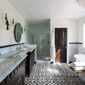 Bon Mediterranean Bathroom With Black And White Cement Tiles