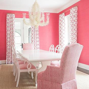 White Dining Chairs With Hot Pink Seats Design Ideas