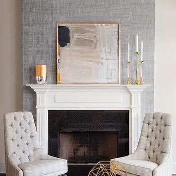 gray fireplace wall  white mantel contemporary living room
