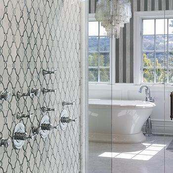 freestanding tub and shower combo. White and Gray Marble Quatrefoil Shower Tiles Freestanding Tub And Combo Design Ideas