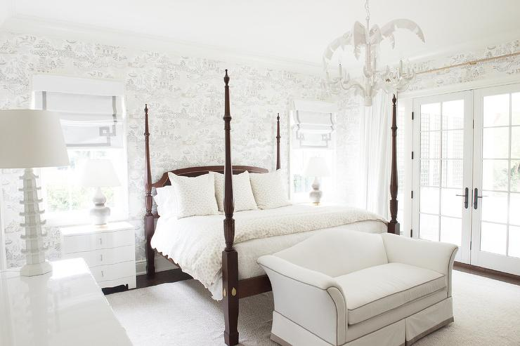 White And Gray Toile Wallpaper With 4 Poster Bed