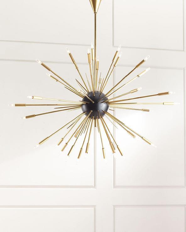 regina andrew 34 light gold spikes chandelier - Starburst Chandelier