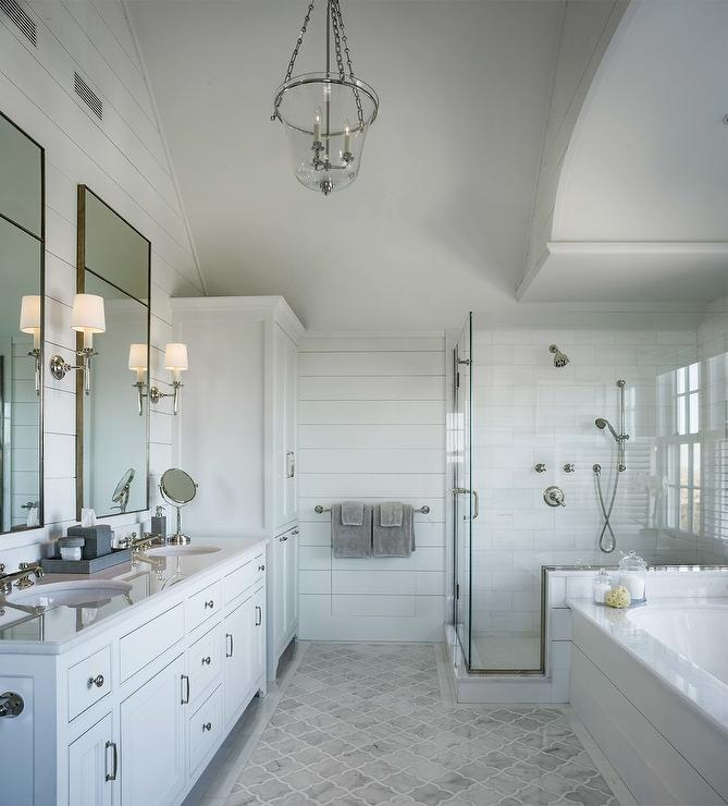 Gray Marble Arabesque Floor Tiles With Border Cottage Bathroom