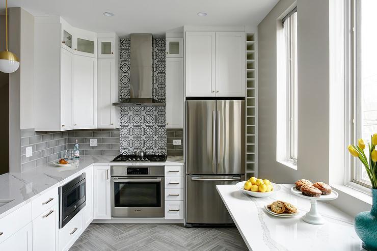 Floor To Ceiling Wine Rack Next To Fridge Contemporary Kitchen